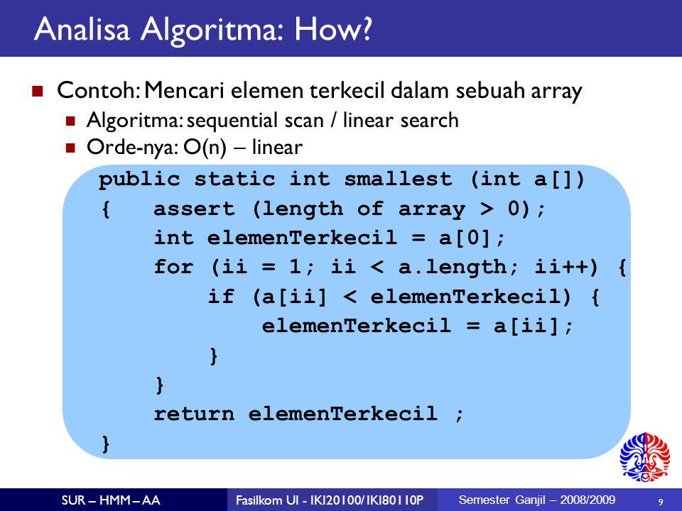 20 SUR – HMM – AAFasilkom UI - IKI20100/ IKI80110P Semester Ganjil – 2008/2009 Brute Force Algorithm (1)  Algoritma: Hitung jumlah dari semua sub-sequence yang mungkin Cari nilai maksimumnya Contoh: jumlah subsequence (start, end)  (0, 0), (0,1), (0,2), …, (0,5)  (1,1), (1,2), …, (1, 5)  … (5,5)  2-413-411-2 543210