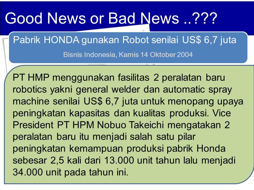 Pabrik HONDA gunakan Robot senilai US$ 6,7 juta Bisnis Indonesia, Kamis 14 Oktober 2004 PT HMP menggunakan fasilitas 2 peralatan baru robotics yakni general welder dan automatic spray machine senilai US$ 6,7 juta untuk menopang upaya peningkatan kapasitas dan kualitas produksi.