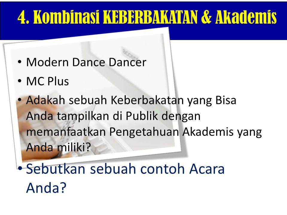 Modern Dance Dancer MC Plus Adakah sebuah Keberbakatan yang Bisa Anda tampilkan di Publik dengan memanfaatkan Pengetahuan Akademis yang Anda miliki? S