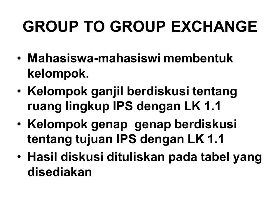 GROUP TO GROUP EXCHANGE Mahasiswa-mahasiswi membentuk kelompok. Kelompok ganjil berdiskusi tentang ruang lingkup IPS dengan LK 1.1 Kelompok genap gena