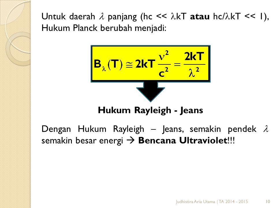 10 Untuk daerah  panjang (hc << kT atau hc/ kT << 1), Hukum Planck berubah menjadi: Hukum Rayleigh - Jeans Judhistira Aria Utama | TA 2014 - 2015 Dengan Hukum Rayleigh – Jeans, semakin pendek semakin besar energi  Bencana Ultraviolet!!!