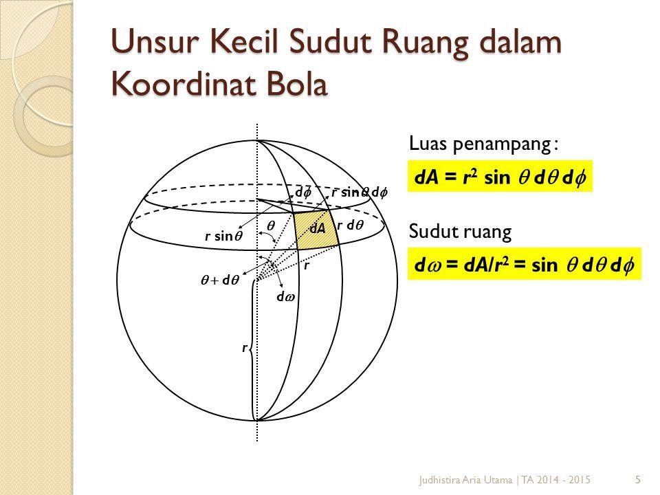 5 Unsur Kecil Sudut Ruang dalam Koordinat Bola 5   d  dd r d  dA r sin  dd r sin  d  r r Luas penampang : Sudut ruang dA = r 2 sin  d  d  d  = dA/r 2 = sin  d  d  Judhistira Aria Utama | TA 2014 - 2015