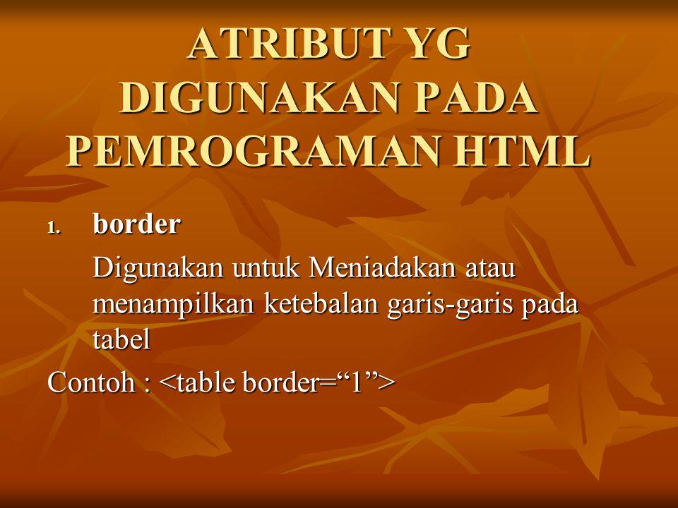 ATRIBUT YG DIGUNAKAN PADA PEMROGRAMAN HTML 1. border Digunakan untuk Meniadakan atau menampilkan ketebalan garis-garis pada tabel Contoh : Contoh :