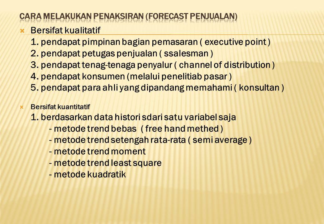  Bersifat kualitatif 1. pendapat pimpinan bagian pemasaran ( executive point ) 2. pendapat petugas penjualan ( ssalesman ) 3. pendapat tenag-tenaga p