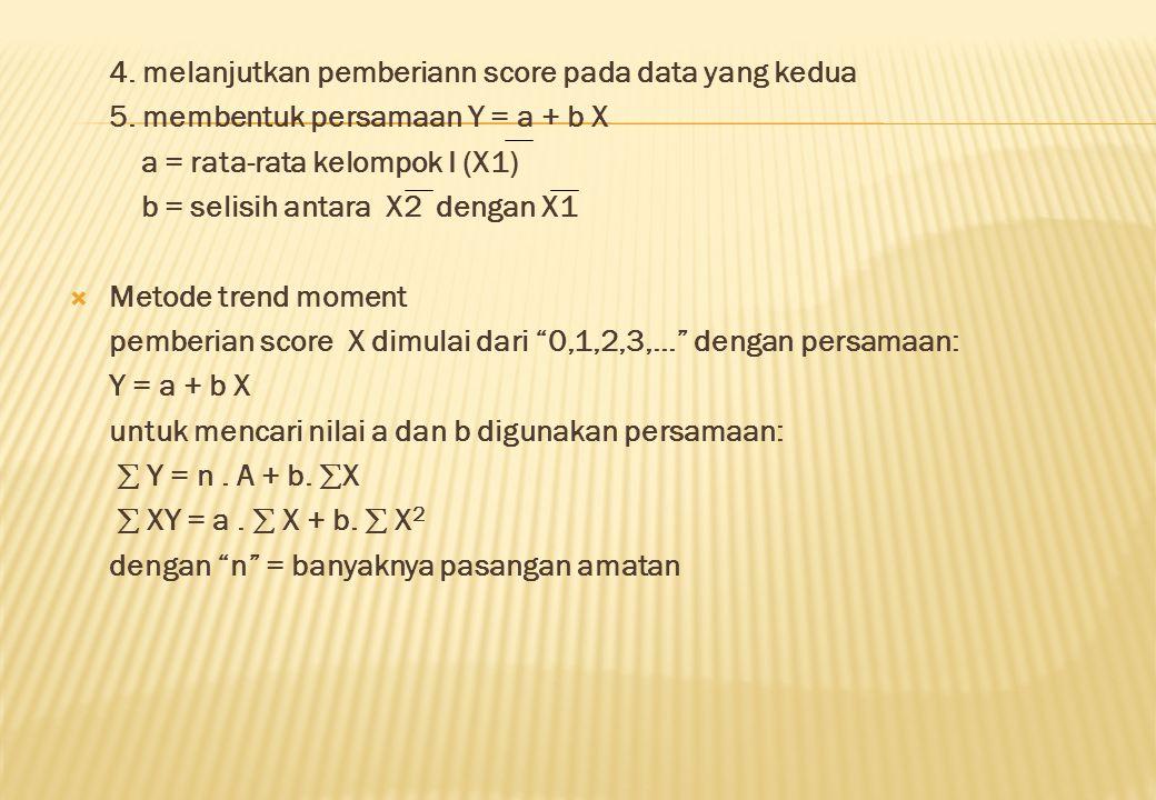4. melanjutkan pemberiann score pada data yang kedua 5. membentuk persamaan Y = a + b X a = rata-rata kelompok I (X1) b = selisih antara  X2 dengan X