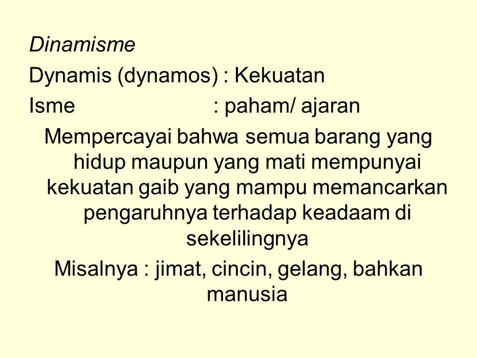 Dinamisme Dynamis (dynamos) : Kekuatan Isme : paham/ ajaran Mempercayai bahwa semua barang yang hidup maupun yang mati mempunyai kekuatan gaib yang ma