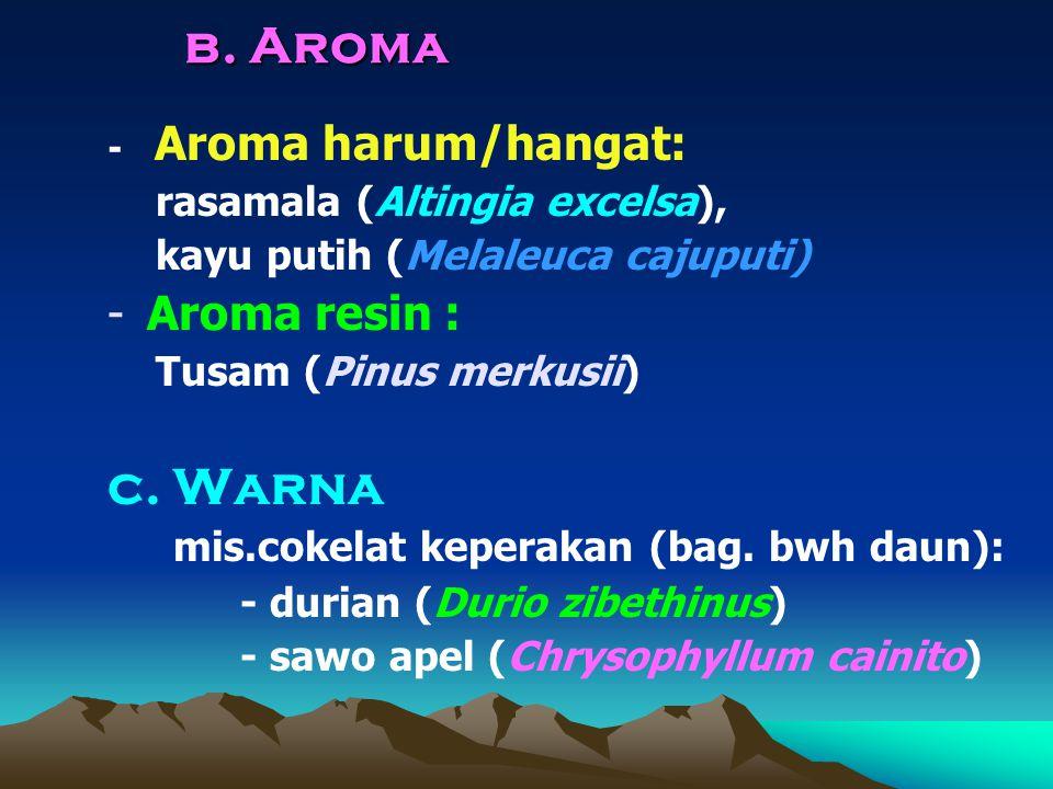 b. Aroma - Aroma harum/hangat: rasamala (Altingia excelsa), kayu putih (Melaleuca cajuputi) -Aroma resin : Tusam (Pinus merkusii) c. Warna mis.cokelat