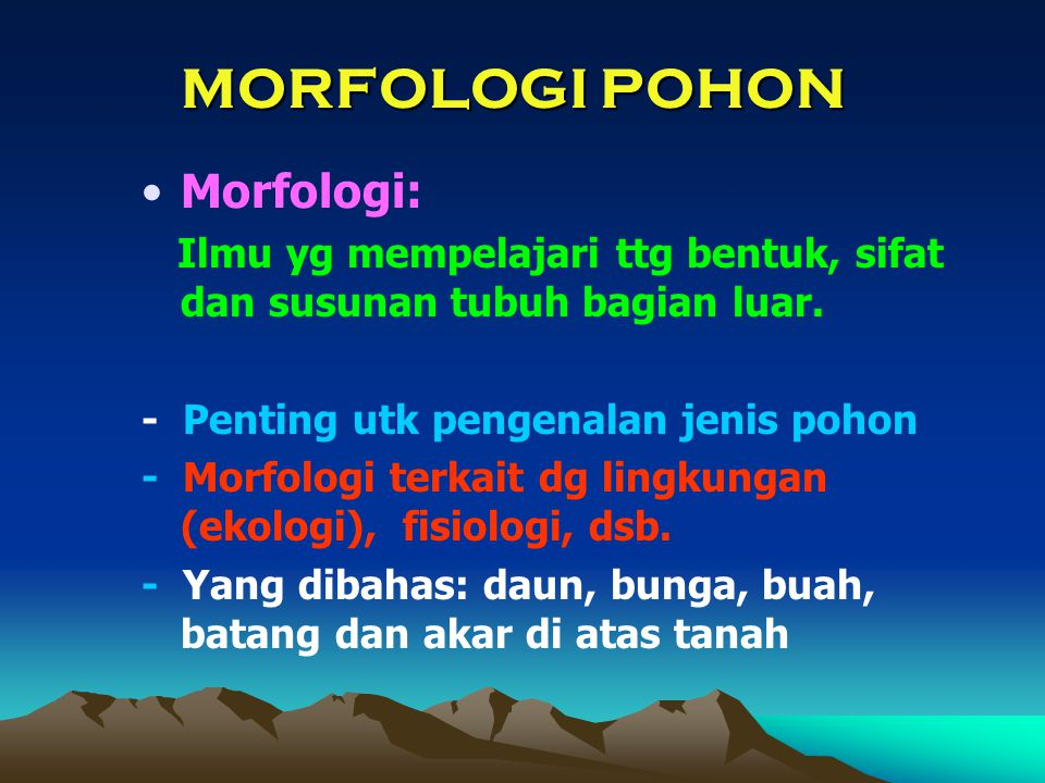 Morfologi: Ilmu yg mempelajari ttg bentuk, sifat dan susunan tubuh bagian luar. - Penting utk pengenalan jenis pohon - Morfologi terkait dg lingkungan