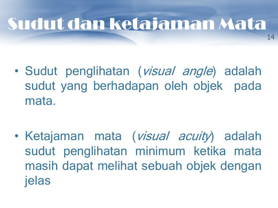 Sudut dan ketajaman Mata Sudut penglihatan (visual angle) adalah sudut yang berhadapan oleh objek pada mata. Ketajaman mata (visual acuity) adalah sud
