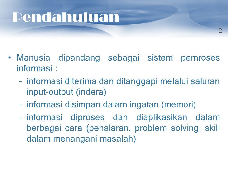 Pendahuluan Manusia dipandang sebagai sistem pemroses informasi : –informasi diterima dan ditanggapi melalui saluran input-output (indera) –informasi