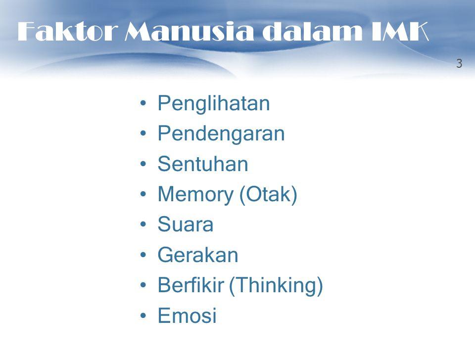 Faktor Manusia dalam IMK Penglihatan Pendengaran Sentuhan Memory (Otak) Suara Gerakan Berfikir (Thinking) Emosi 3