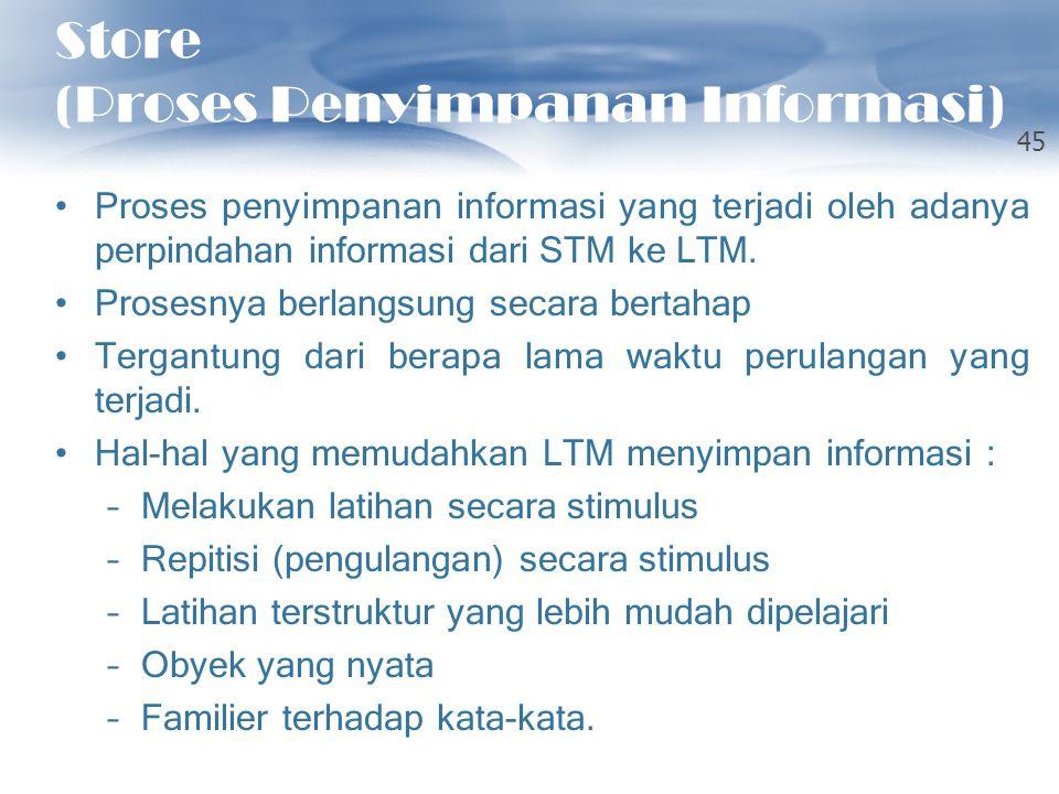 Store (Proses Penyimpanan Informasi) Proses penyimpanan informasi yang terjadi oleh adanya perpindahan informasi dari STM ke LTM. Prosesnya berlangsun