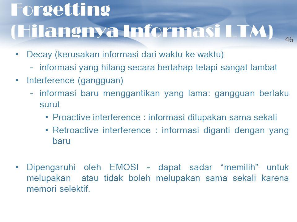 Forgetting (Hilangnya Informasi LTM) Decay (kerusakan informasi dari waktu ke waktu) –informasi yang hilang secara bertahap tetapi sangat lambat Inter