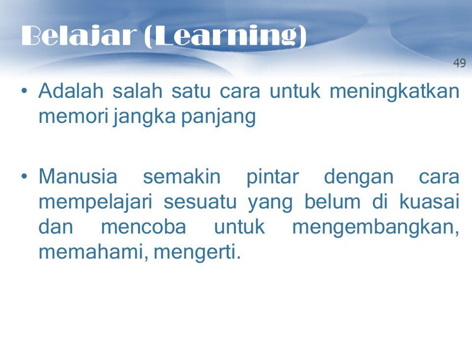 Belajar (Learning) Adalah salah satu cara untuk meningkatkan memori jangka panjang Manusia semakin pintar dengan cara mempelajari sesuatu yang belum d