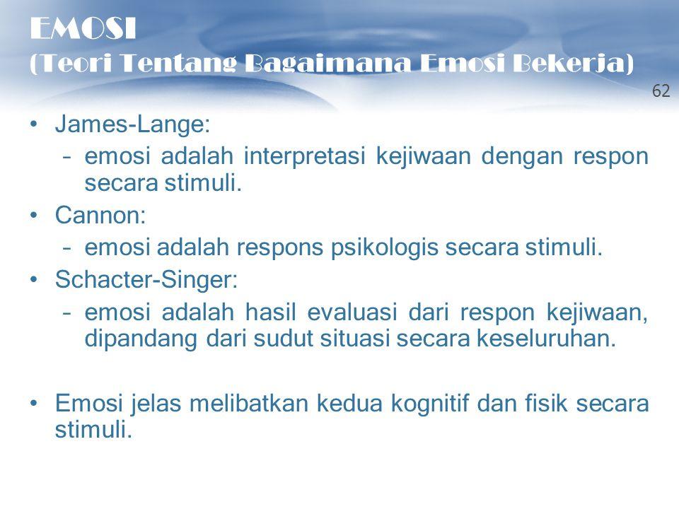 EMOSI (Teori Tentang Bagaimana Emosi Bekerja) James-Lange: –emosi adalah interpretasi kejiwaan dengan respon secara stimuli. Cannon: –emosi adalah res