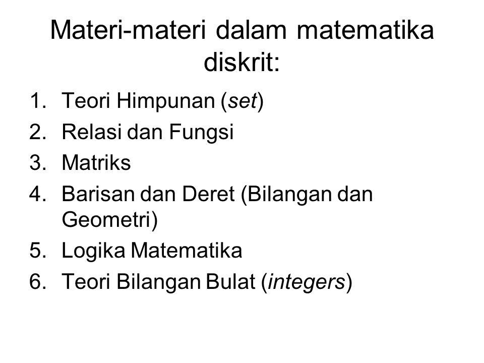 Materi-materi dalam matematika diskrit: 1.Teori Himpunan (set) 2.Relasi dan Fungsi 3.Matriks 4.Barisan dan Deret (Bilangan dan Geometri) 5.Logika Mate
