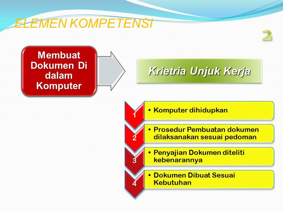 ELEMEN KOMPETENSI Krietria Unjuk Kerja Membuat Dokumen Di dalam Komputer 1 Komputer dihidupkan 2 Prosedur Pembuatan dokumen dilaksanakan sesuai pedoma