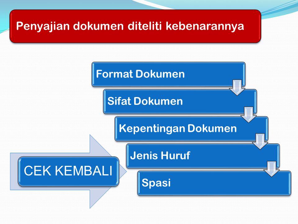 Penyajian dokumen diteliti kebenarannya CEK KEMBALI Format Dokumen Sifat DokumenKepentingan DokumenJenis HurufSpasi