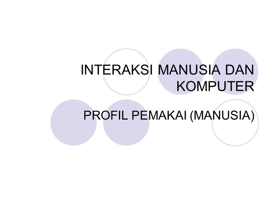 INTERAKSI MANUSIA DAN KOMPUTER PROFIL PEMAKAI (MANUSIA)