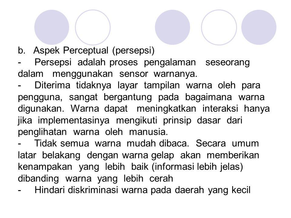b. Aspek Perceptual (persepsi) - Persepsi adalah proses pengalaman seseorang dalam menggunakan sensor warnanya. - Diterima tidaknya layar tampilan war