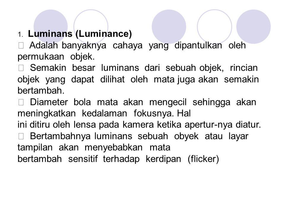 1. Luminans (Luminance) ƒ Adalah banyaknya cahaya yang dipantulkan oleh permukaan objek. ƒ Semakin besar luminans dari sebuah objek, rincian objek yan