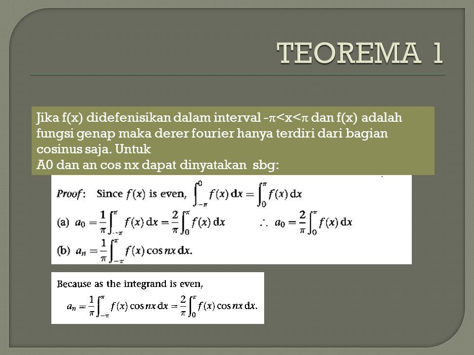 Jika f(x) didefenisikan dalam interval -  <x<  dan f(x) adalah fungsi genap maka derer fourier hanya terdiri dari bagian cosinus saja. Untuk A0 dan