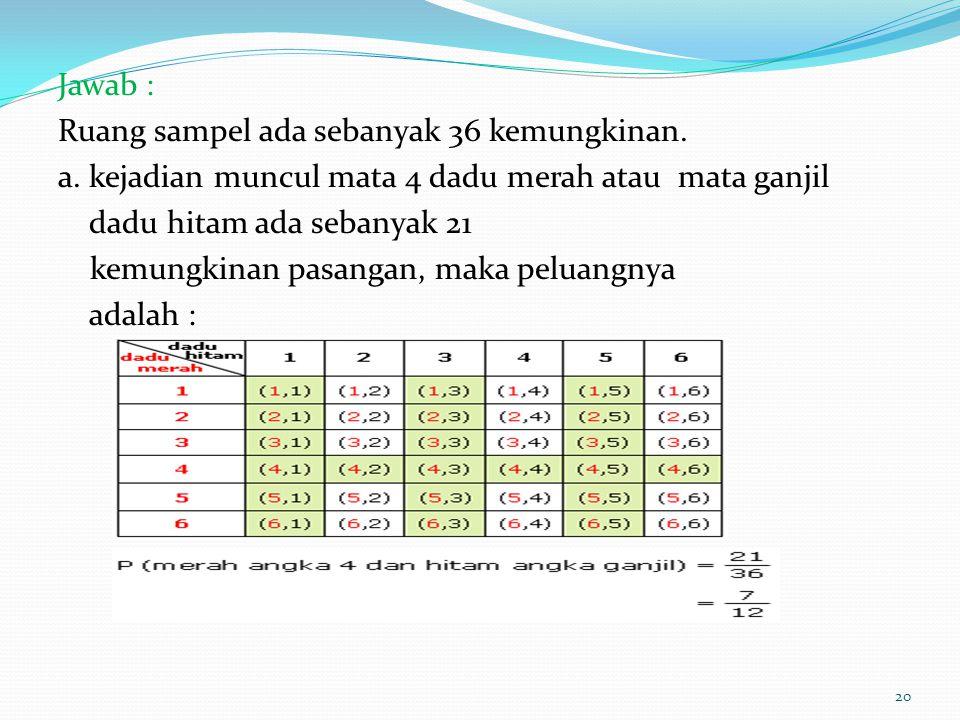 Jawab : Ruang sampel ada sebanyak 36 kemungkinan. a. kejadian muncul mata 4 dadu merah atau mata ganjil dadu hitam ada sebanyak 21 kemungkinan pasanga