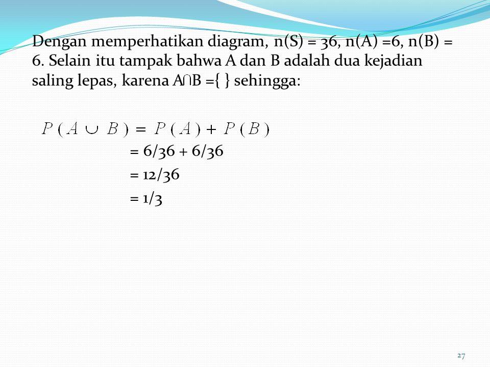 Dengan memperhatikan diagram, n(S) = 36, n(A) =6, n(B) = 6. Selain itu tampak bahwa A dan B adalah dua kejadian saling lepas, karena A B ={ } sehingga