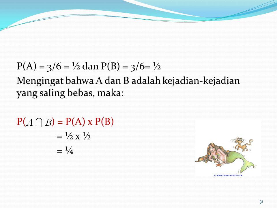 P(A) = 3/6 = ½ dan P(B) = 3/6= ½ Mengingat bahwa A dan B adalah kejadian-kejadian yang saling bebas, maka: P( ) = P(A) x P(B) = ½ x ½ = ¼ 31