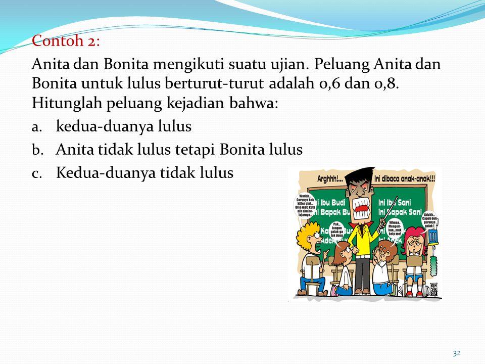 Contoh 2: Anita dan Bonita mengikuti suatu ujian. Peluang Anita dan Bonita untuk lulus berturut-turut adalah 0,6 dan 0,8. Hitunglah peluang kejadian b
