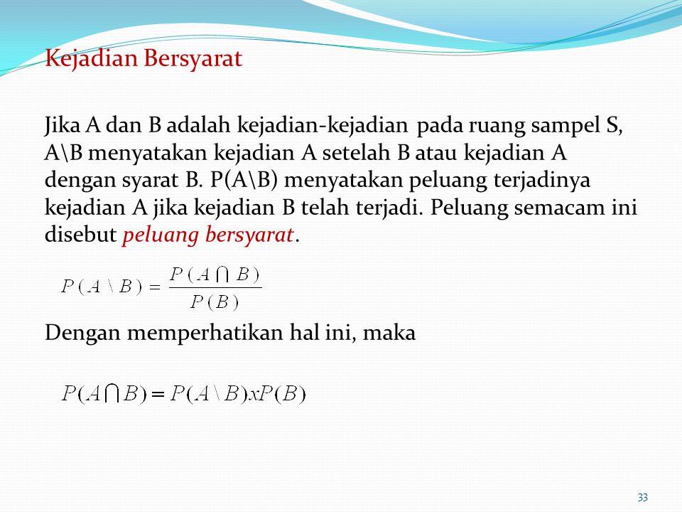 Kejadian Bersyarat Jika A dan B adalah kejadian-kejadian pada ruang sampel S, A\B menyatakan kejadian A setelah B atau kejadian A dengan syarat B. P(A