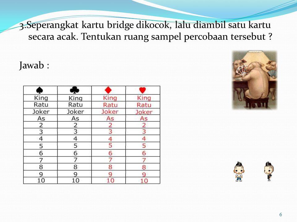 3.Seperangkat kartu bridge dikocok, lalu diambil satu kartu secara acak. Tentukan ruang sampel percobaan tersebut ? Jawab : 6