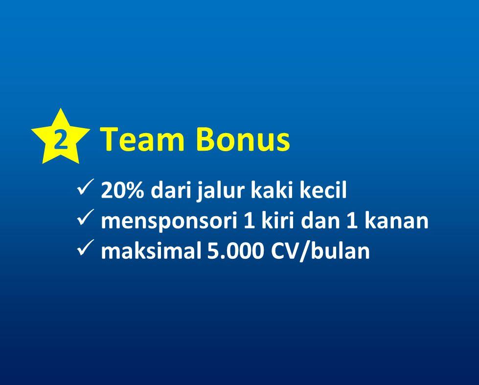2 Team Bonus 20% dari jalur kaki kecil mensponsori 1 kiri dan 1 kanan maksimal 5.000 CV/bulan