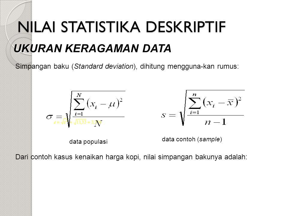 NILAI STATISTIKA DESKRIPTIF UKURAN KERAGAMAN DATA data populasi data contoh (sample) Simpangan baku (Standard deviation), dihitung mengguna-kan rumus: