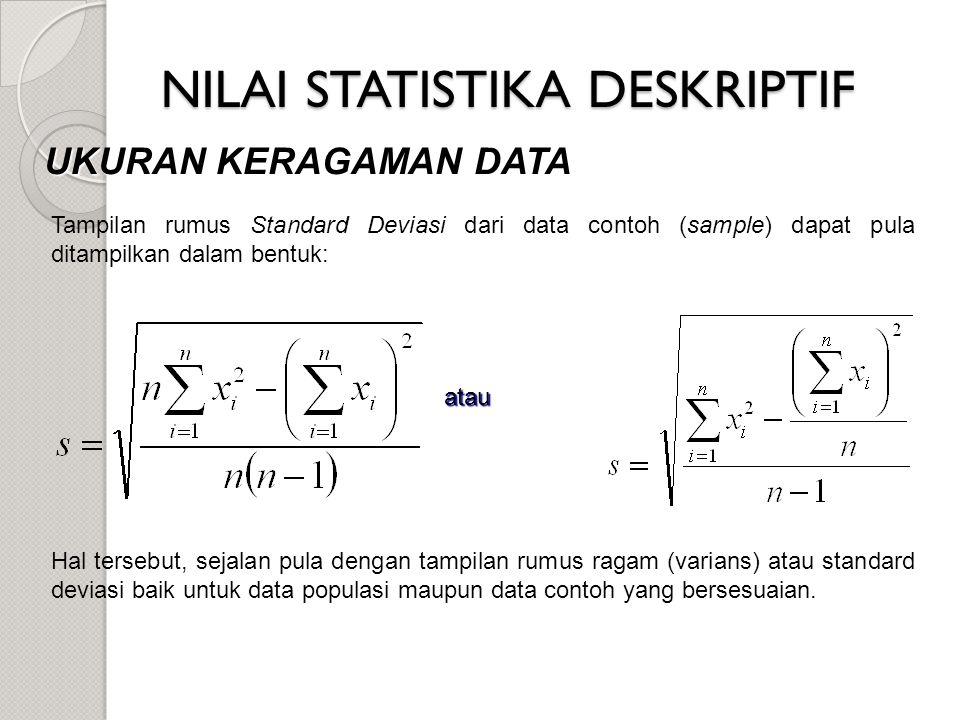 NILAI STATISTIKA DESKRIPTIF UKURAN KERAGAMAN DATA Hal tersebut, sejalan pula dengan tampilan rumus ragam (varians) atau standard deviasi baik untuk da