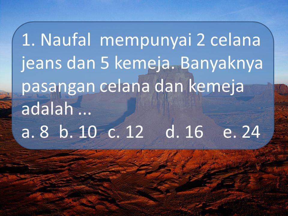 1. Naufal mempunyai 2 celana jeans dan 5 kemeja. Banyaknya pasangan celana dan kemeja adalah... a. 8 b. 10c. 12d. 16e. 24
