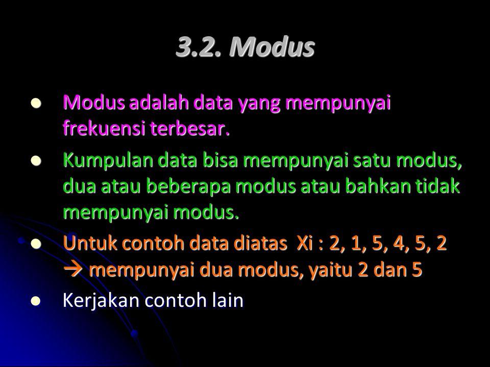 3.2. Modus Modus adalah data yang mempunyai frekuensi terbesar. Modus adalah data yang mempunyai frekuensi terbesar. Kumpulan data bisa mempunyai satu