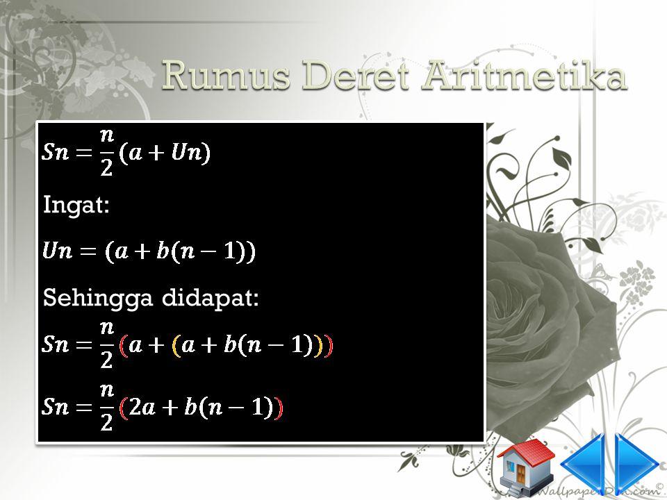  Watch this example 4: Diketahui, sebuah barisan Aritmetika sebagai berikut: 6, 11, 16, 21,... tentukan nilai S20! jawab: S1 = 6= S20 = ? S2 = 17= S3