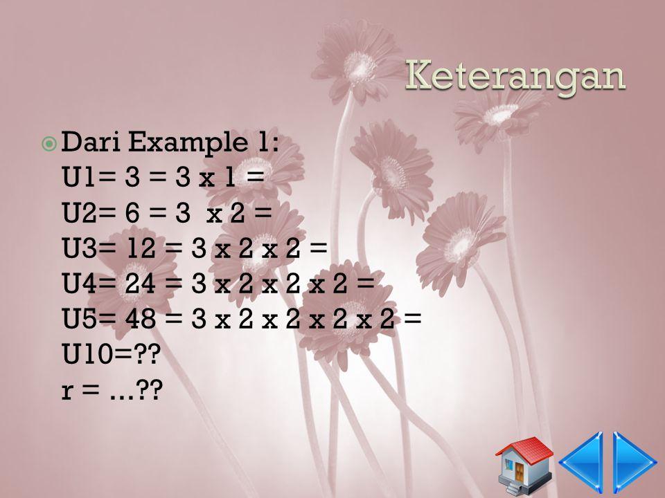  Barisan geometri adalah barisan bilangan yang mempunyai rasio tetap antara dua suku yang berurutan.  Example 1 3, 6, 12, 24, 48,... Tentukan rasio