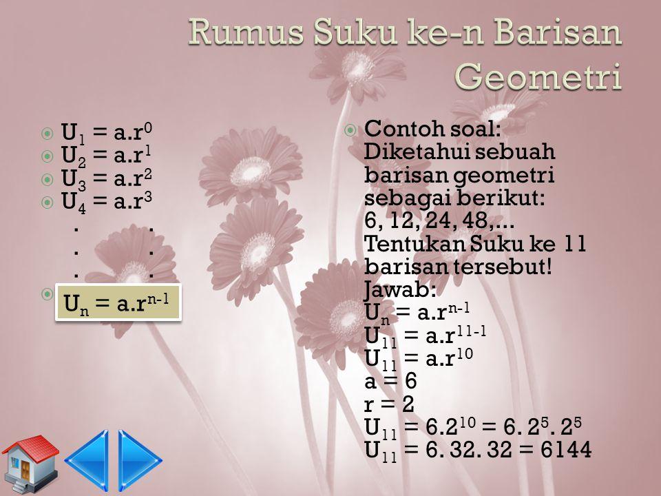  Dari Example 1: U1= 3 = 3 x 1 = U2= 6 = 3 x 2 = U3= 12 = 3 x 2 x 2 = U4= 24 = 3 x 2 x 2 x 2 = U5= 48 = 3 x 2 x 2 x 2 x 2 = U10=?? r =...??