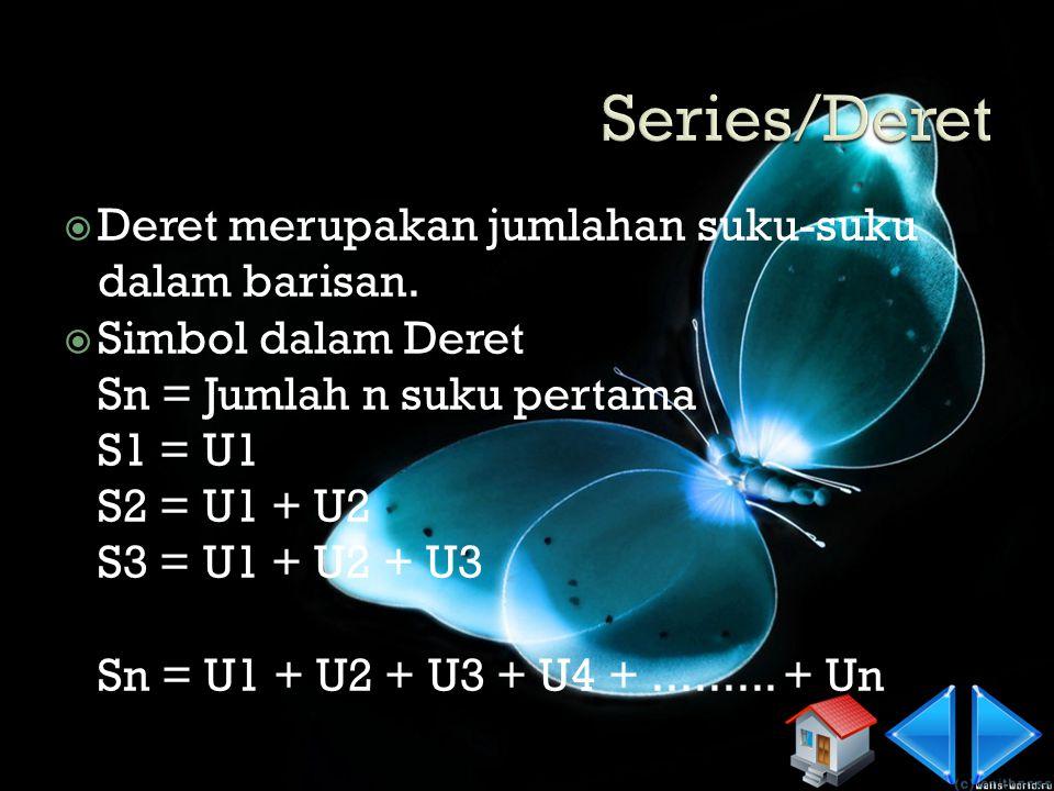 Contoh 1 2, 4, 6, 8,...... U1 = U2 = U3 = U4 = Un = So, U50 = Contoh 2 2, 4, 8, 16, 32,...... U1 = U2 = U3 = U4 = Un = So, U10=....... (+2) 2 +......