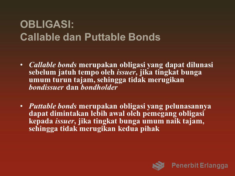 OBLIGASI: Callable dan Puttable Bonds Callable bonds merupakan obligasi yang dapat dilunasi sebelum jatuh tempo oleh issuer, jika tingkat bunga umum t