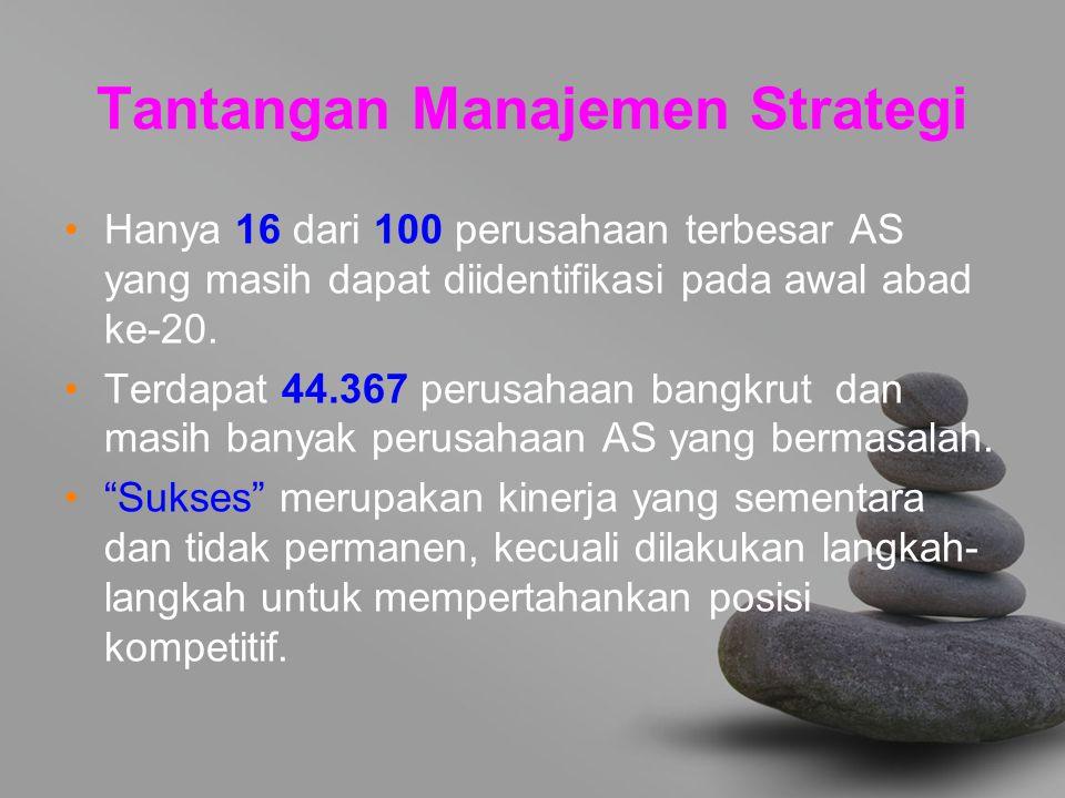 Tantangan Manajemen Strategi Hanya 16 dari 100 perusahaan terbesar AS yang masih dapat diidentifikasi pada awal abad ke-20. Terdapat 44.367 perusahaan