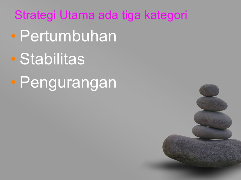 Pertumbuhan Stabilitas Pengurangan Strategi Utama ada tiga kategori