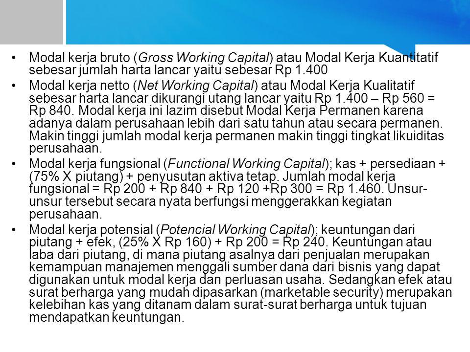 Modal kerja bruto (Gross Working Capital) atau Modal Kerja Kuantitatif sebesar jumlah harta lancar yaitu sebesar Rp 1.400 Modal kerja netto (Net Working Capital) atau Modal Kerja Kualitatif sebesar harta lancar dikurangi utang lancar yaitu Rp 1.400 – Rp 560 = Rp 840.