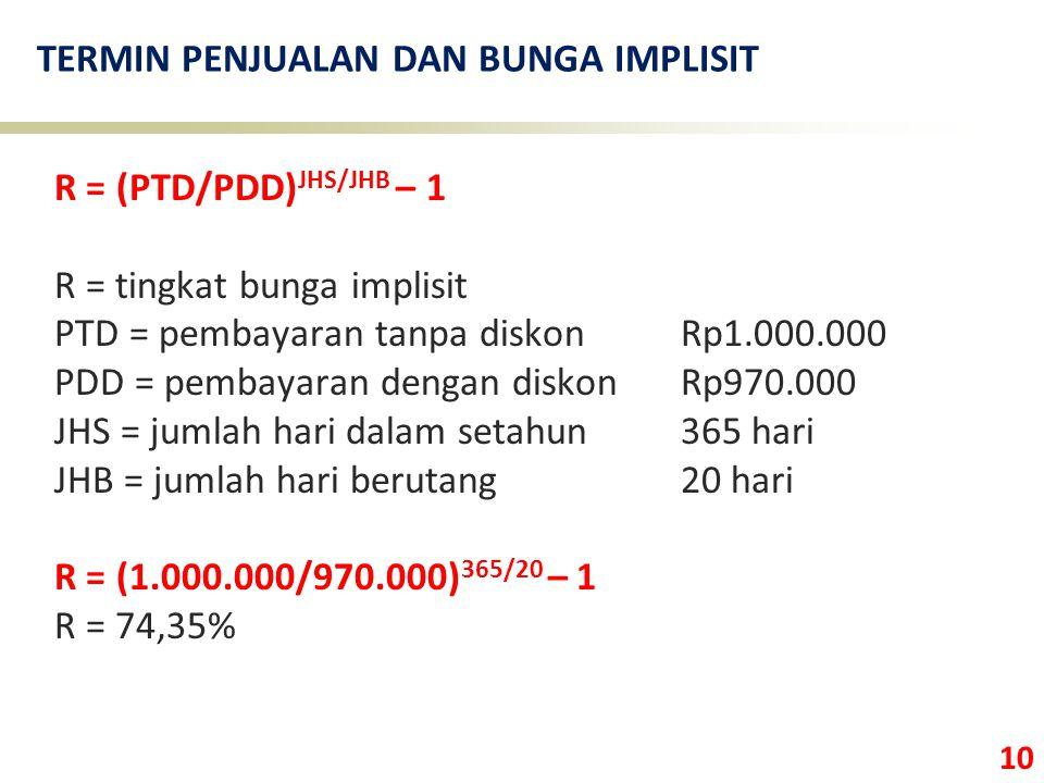 10 TERMIN PENJUALAN DAN BUNGA IMPLISIT R = (PTD/PDD) JHS/JHB – 1 R = tingkat bunga implisit PTD = pembayaran tanpa diskonRp1.000.000 PDD = pembayaran