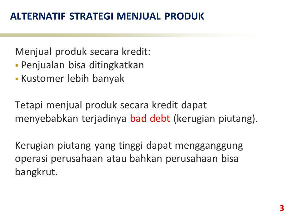3 ALTERNATIF STRATEGI MENJUAL PRODUK Menjual produk secara kredit:  Penjualan bisa ditingkatkan  Kustomer lebih banyak Tetapi menjual produk secara