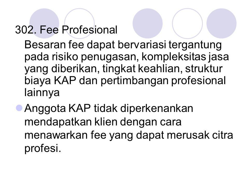 302. Fee Profesional Besaran fee dapat bervariasi tergantung pada risiko penugasan, kompleksitas jasa yang diberikan, tingkat keahlian, struktur biaya