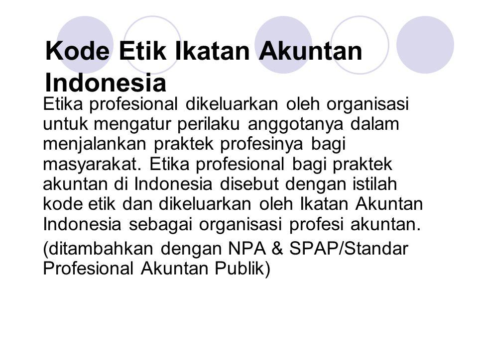 Kode Etik Ikatan Akuntan Indonesia Etika profesional dikeluarkan oleh organisasi untuk mengatur perilaku anggotanya dalam menjalankan praktek profesin