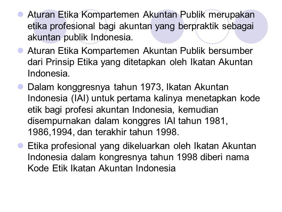 Aturan Etika Kompartemen Akuntan Publik merupakan etika profesional bagi akuntan yang berpraktik sebagai akuntan publik Indonesia. Aturan Etika Kompar